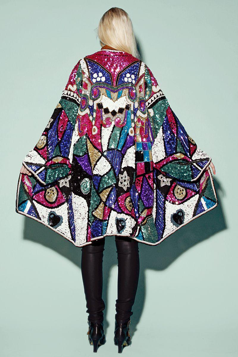 Shop Vintage 80s Sequin Kimono Coat http://thriftedandmodern.com ...