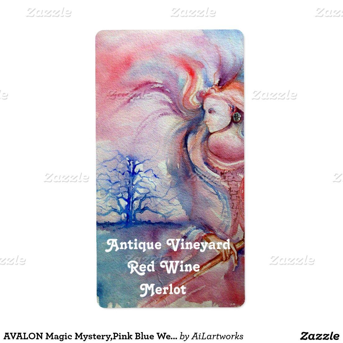 AVALON Magic Mystery,Pink Blue Wedding Wine Bottle Shipping Label