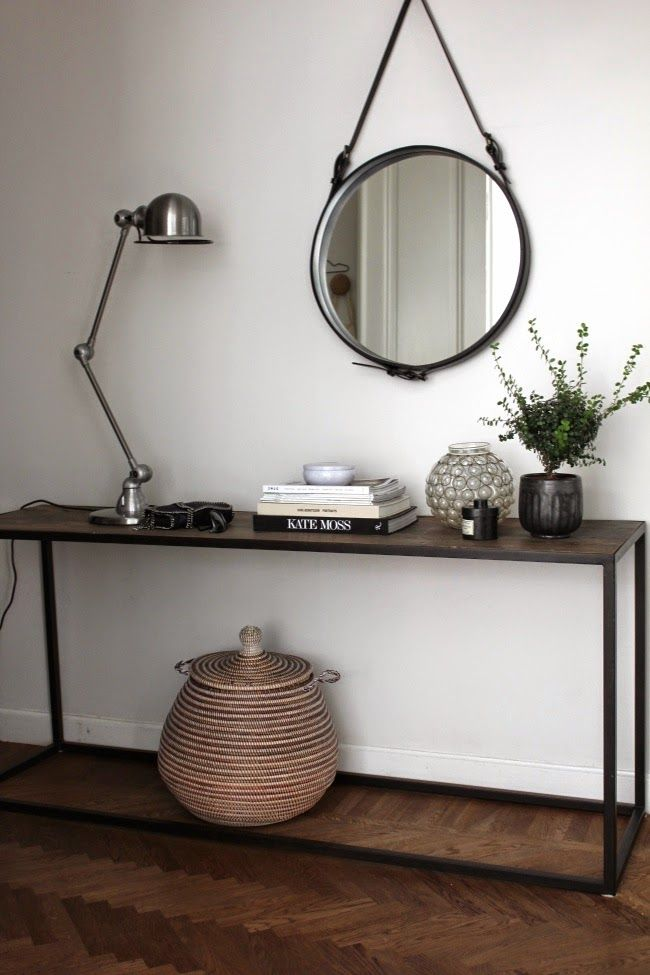 Adnet mirror by Gubi and Signal S1333 table lamp by Jieldé via The Design Chaser.