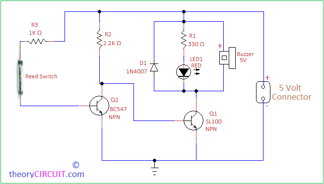 Door Open Alarm Circuit using Reed switch | Circuit, Electronic circuit  projects, Switch | Reed 4 Pin Relay Wiring Diagram |  | Pinterest