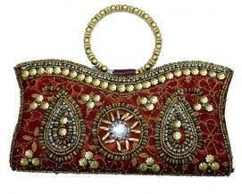 Satin Silk Maroon Clutch Women Bridal Ladies Purse Party Totes