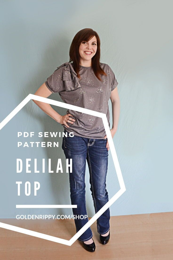 Here's the Delilah top sewing pattern. This women's sewing pdf sewing pattern is professionally drafted with short sleeves and half sleeves. It's an easy beginner project to try out sewing knits. Comes with an optional shoulder bow or flowers. The Delilah is soft, comfortable and chic. It's a quick sew with only a few pattern pieces to assemble. Everyone needs a cute, quick pattern in her library! #sewingpattern #ladies #top #sewing #pdf #goldenrippy #patterns #women #dolman #knit