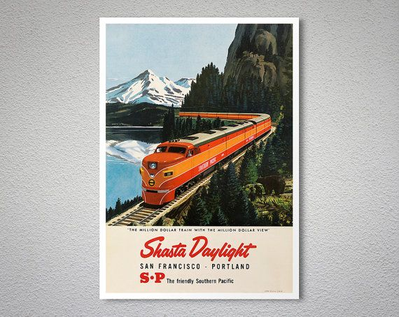 Shasta daylight san francisco portland vintage railway travel poster poster print sticker or canvas print