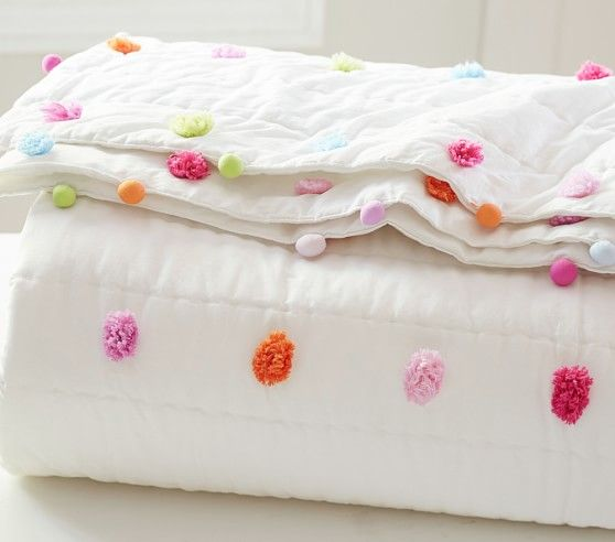 Bright Pom Pom Quilt Kid Beds Quilt Bedding Kids Comforters