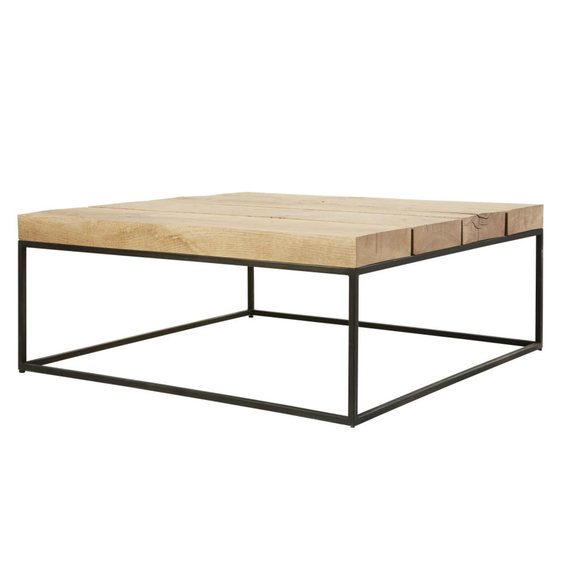 Table Basse Carree En Chene Massif Et Metal Noir Magnus Maisons Du Monde Table Basse Chene Table Basse Carree Table Basse