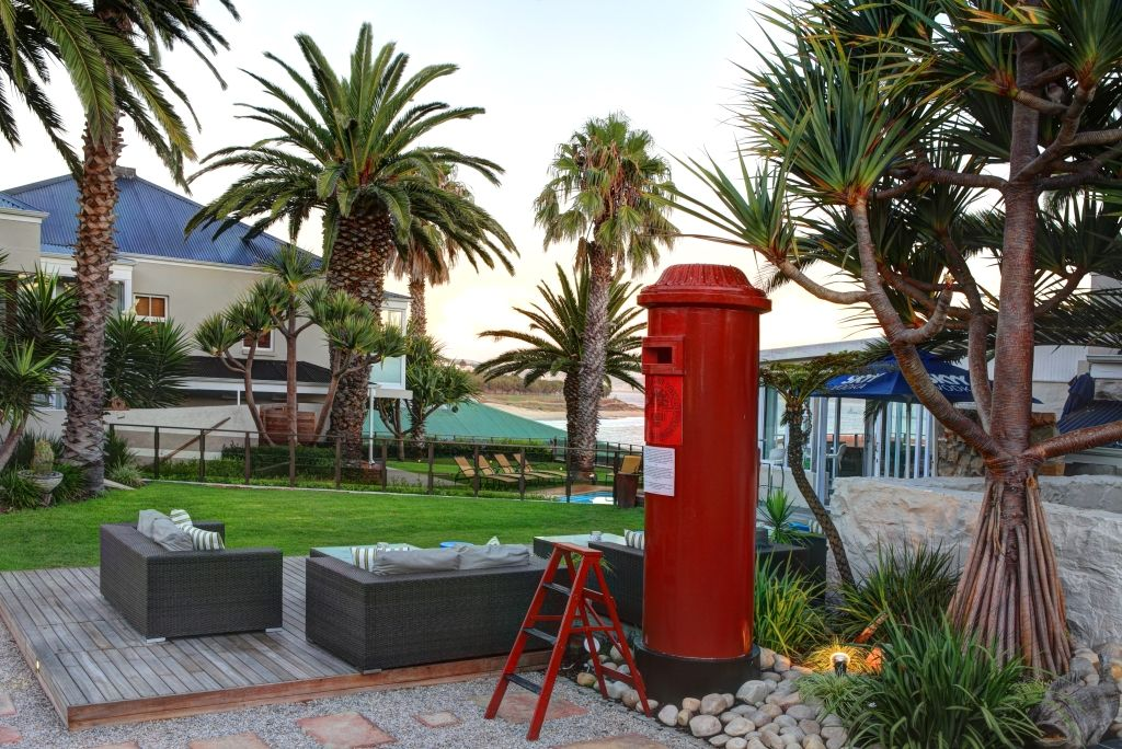 Garden and Giant Postbox Cafe Mossel bay Blue