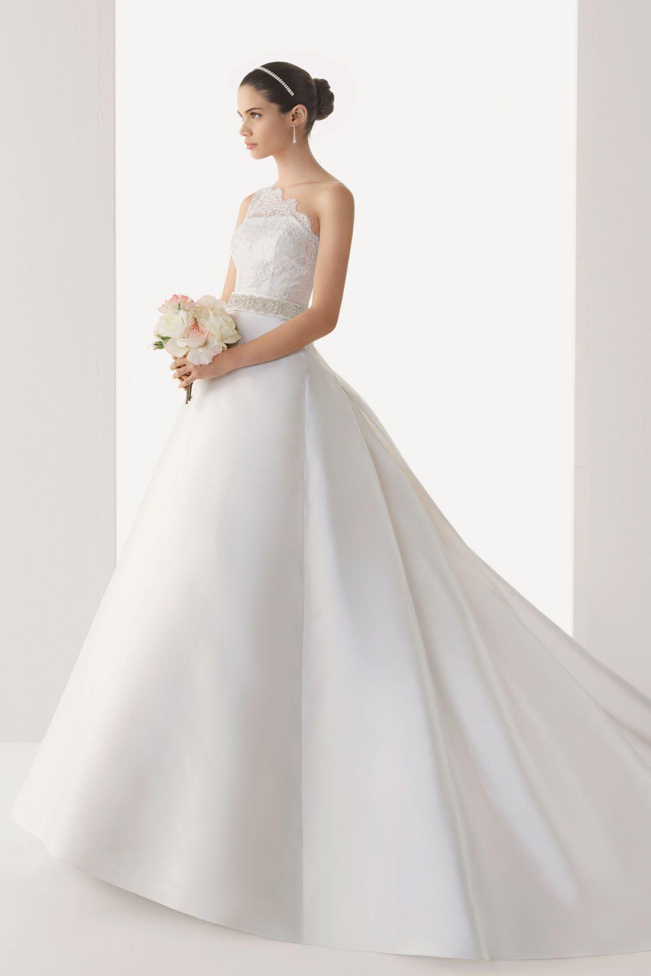 Simple Sheer One Shoulder Empire Satin Court Train Wedding Dress ...