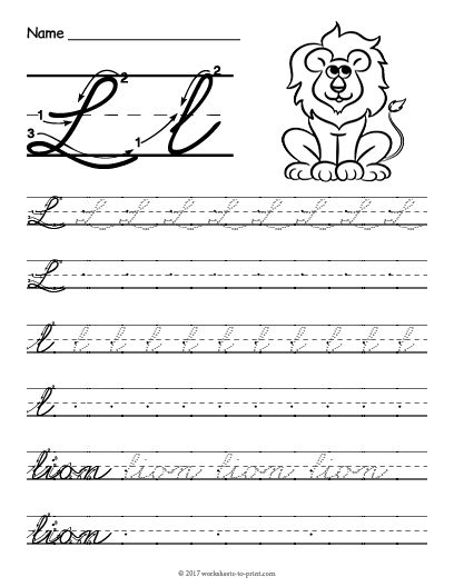 free printable cursive l worksheet cursive writing worksheets. Black Bedroom Furniture Sets. Home Design Ideas