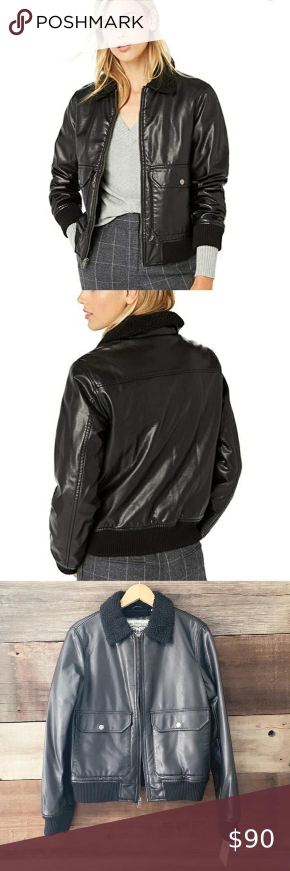 Levi S Black Faux Leather Sherpa Bomber Jacket Bomber Jacket Black Bomber Jacket Black Faux Leather [ 1740 x 580 Pixel ]