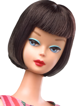 This stock photo from Mattel's web site shows the hair styling that designer Bill Greening intended for the 2010 reproduction of Barbie With Lifelike Bendable Legs, so why didn't Mattel make the doll look more like this photo and more like the actual 1965 vintage Japan doll that it was supposed to represent?