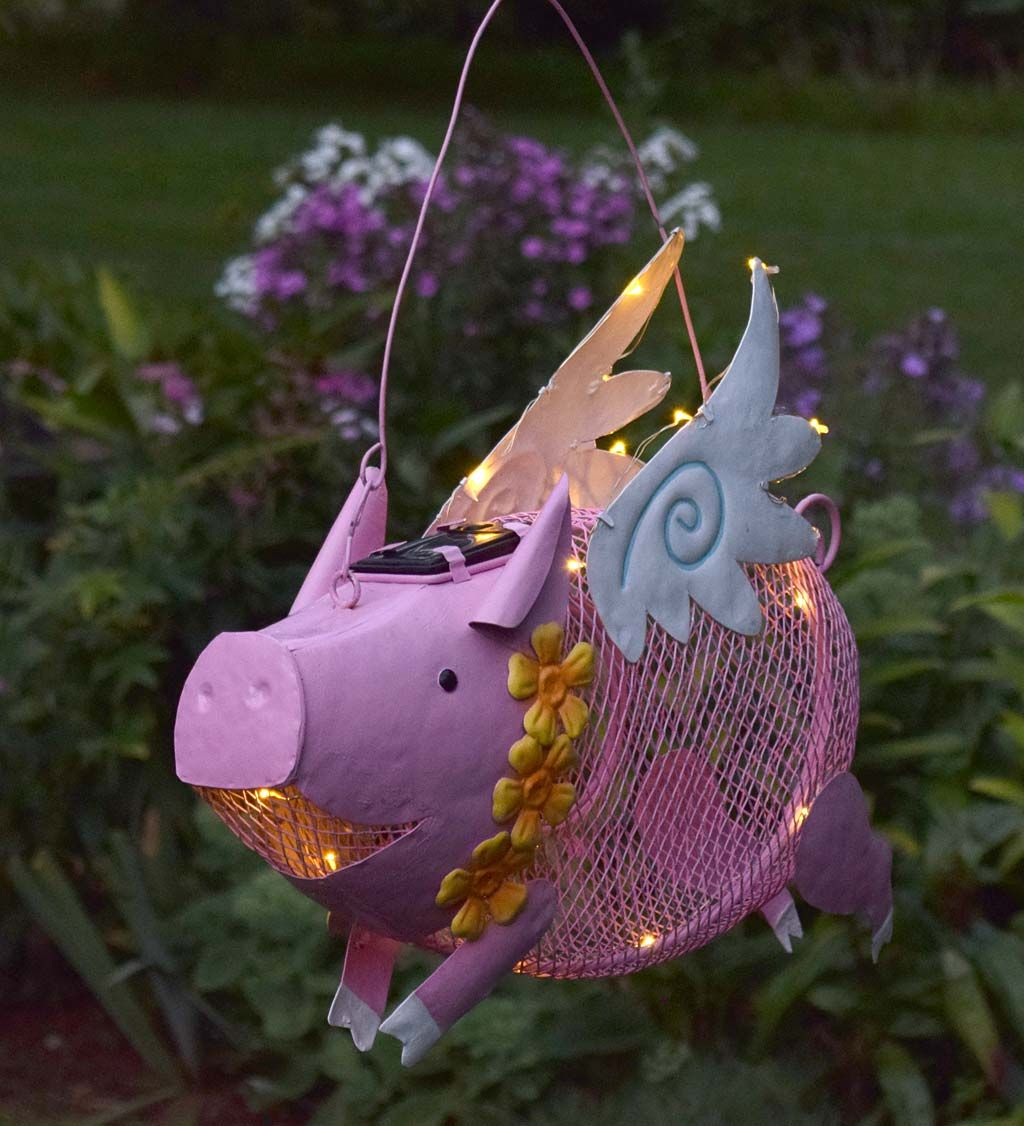 So cute this fanciful flying pig solar bird feeder will add a flying pig solar bird feeder arubaitofo Images