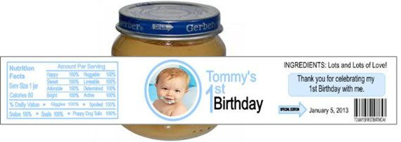 first birthday or baby shower custom photo any color gerber food jar
