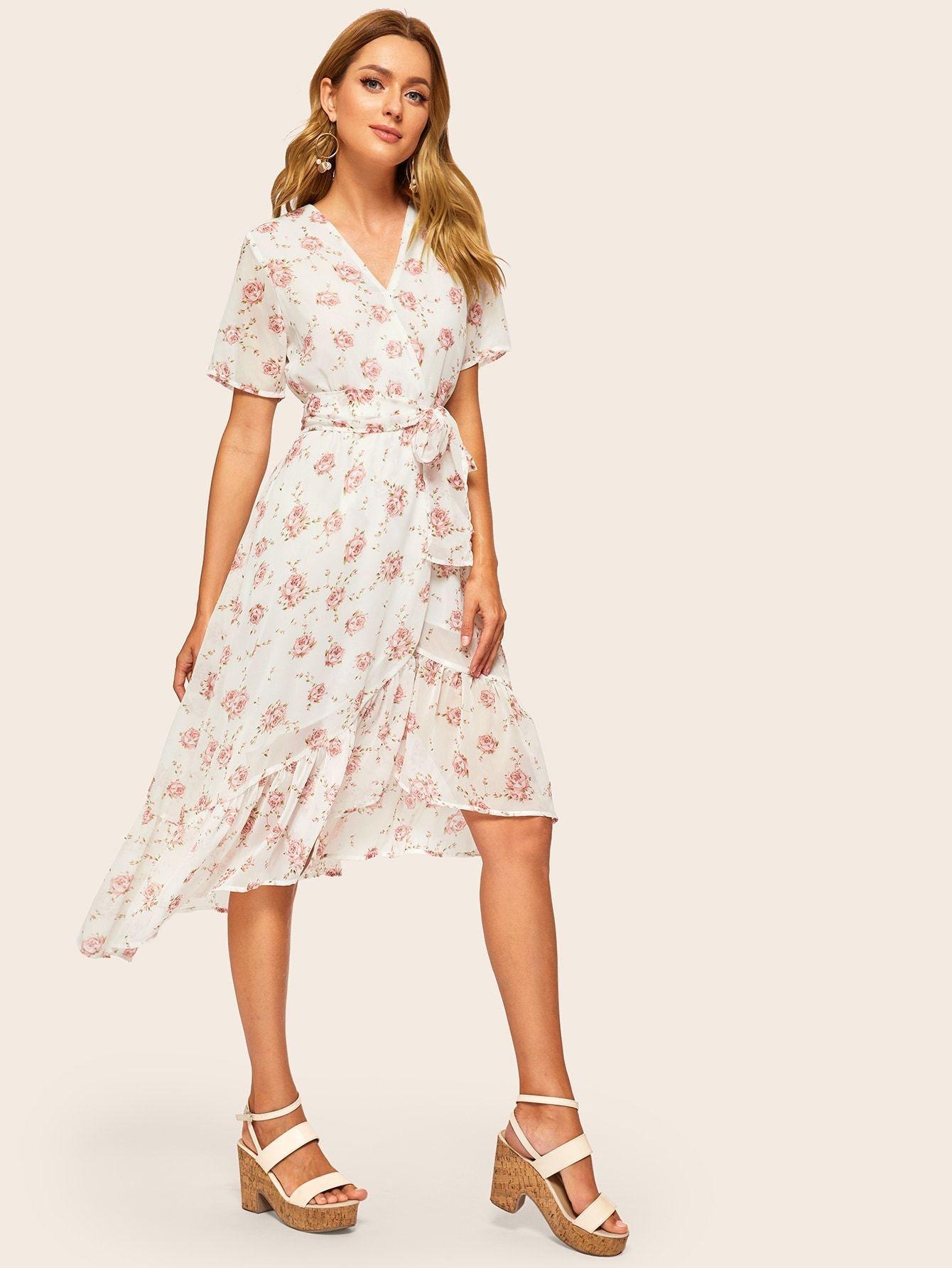 Surplice Floral Print Belted Asymmetrical Hem Wrap Dress Wrap Dress Wrap Dress Floral Surplice Wrap Dress [ 1785 x 1340 Pixel ]