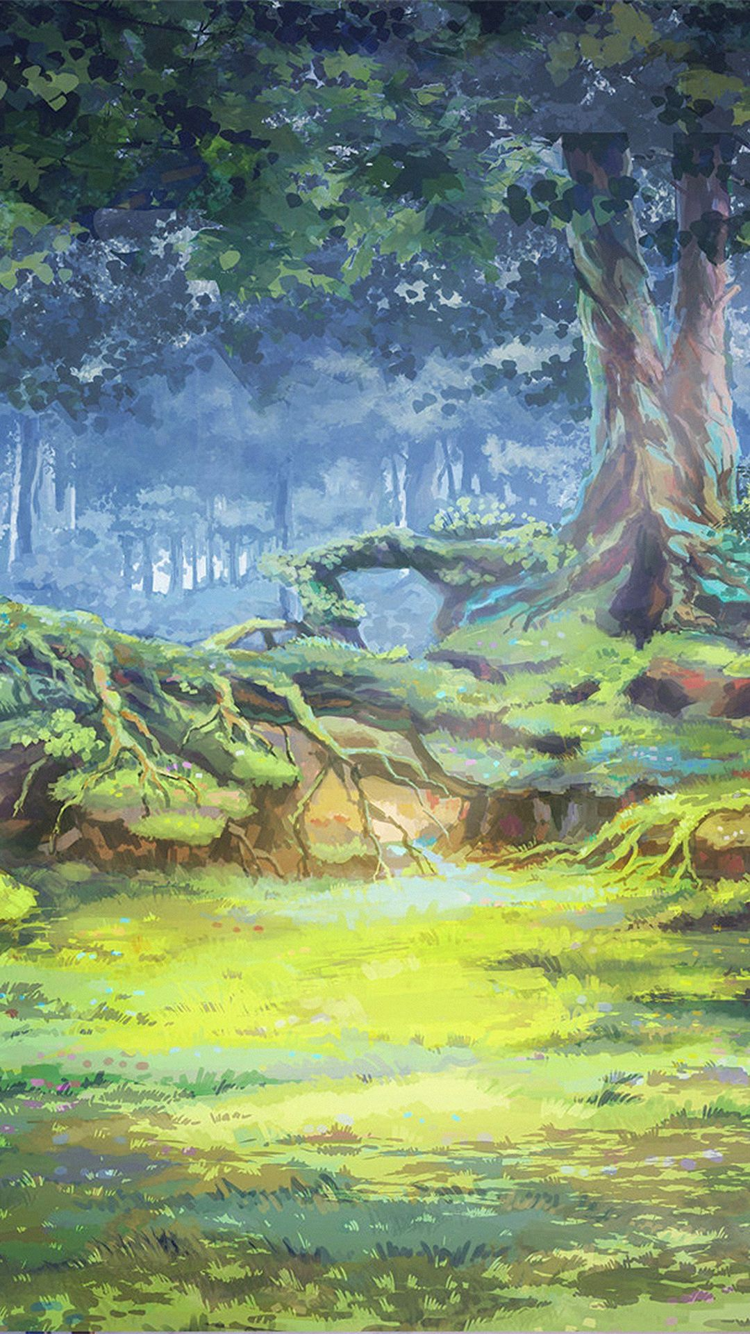 Nature Grove Tree Grassland Illustration Art iPhone 8 Wallpapers