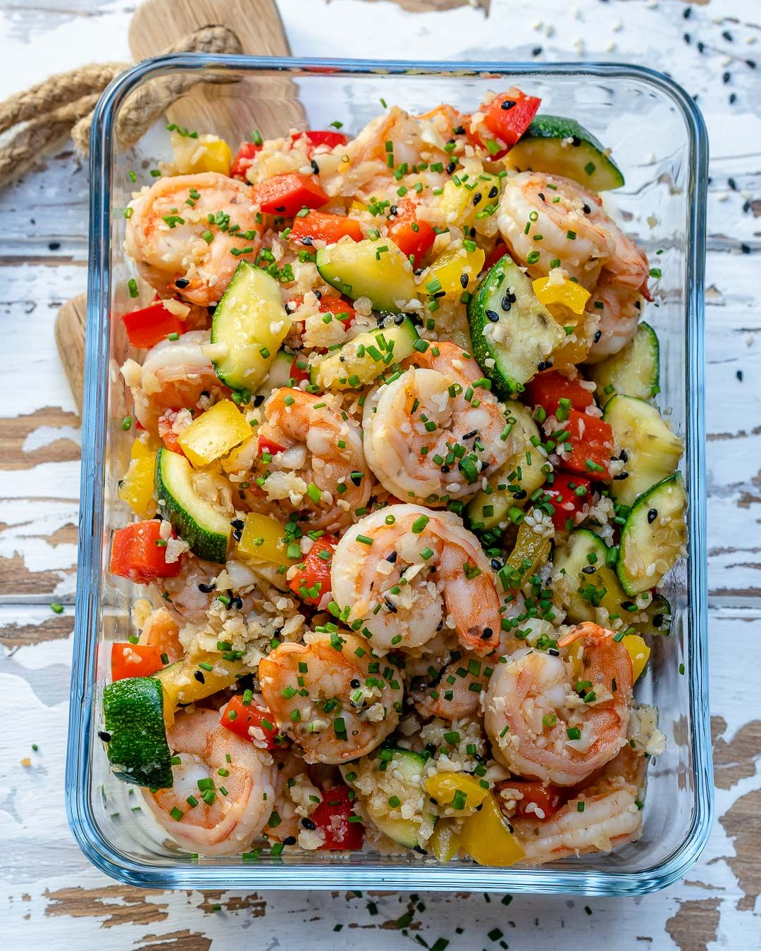 Clean Eating Shrimp Cauliflower Fried Rice for Meal Prep!