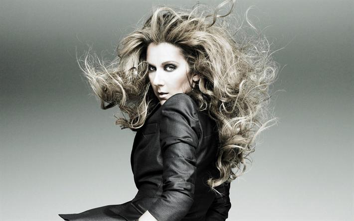 Lataa kuva Celine Dion, Kanadalainen laulaja, muotokuva, blondi, harmaa puku, kaunis nainen