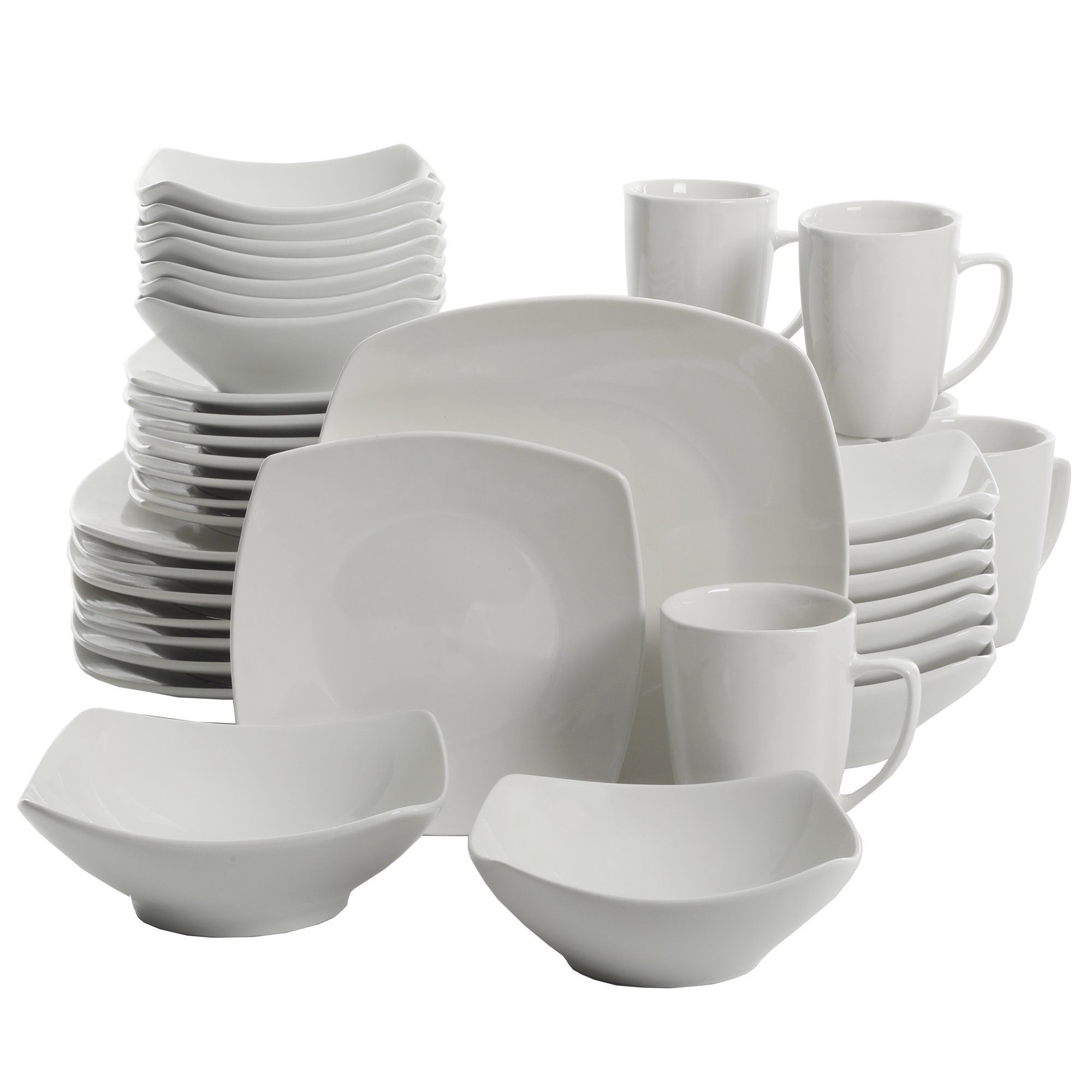 Gibson Home Everyday Square 12 Piece Dinnerware Set Walmart Com Dinnerware Set White Dinnerware Set Ceramic Kitchen White dinnerware sets for 12