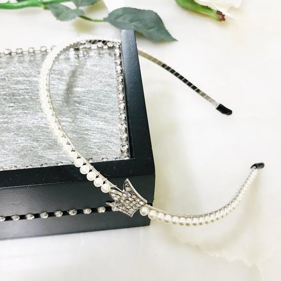 Crown Headband White, Crystal Headband, Pearl Headband, Pearl Bead Headband, Minimalist Jewelry, Hai #crownheadband