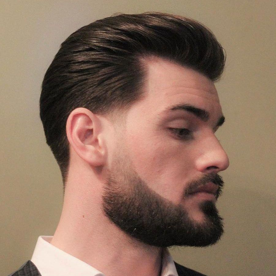 a sideburn taper adds a modern finish to this classic hair