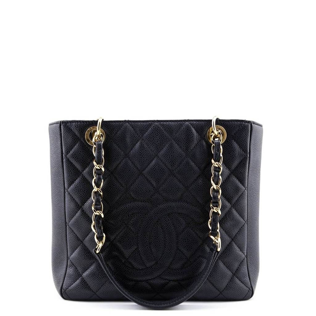 Chanel Black Quilted Caviar Pst Ghw Leather Chain Chanel Black