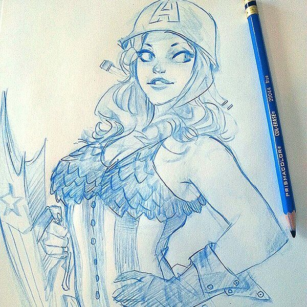 Older Drawing.#captainamerica ,#draw ,#pinup #pencil
