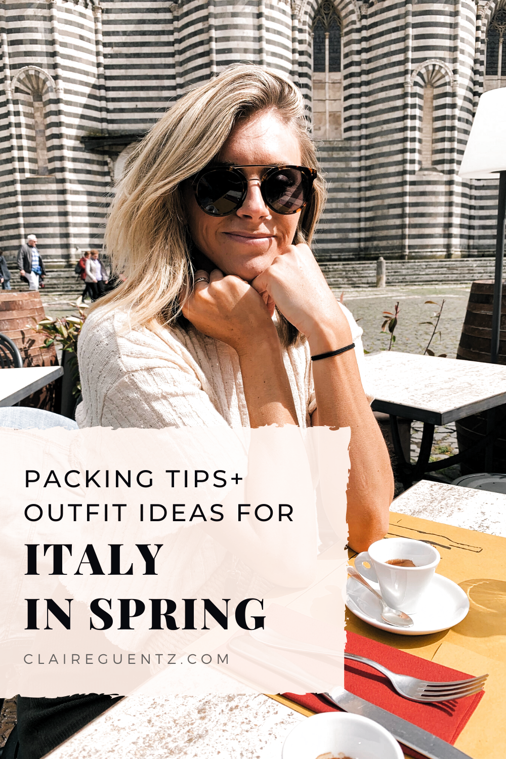 What to pack for Italy in spring   Packing for Italy can be tricky in spring because of the fluctuating temperatures. In this post, I'm telling you exactly what I brought for a two-week spring trip + Italy outfit ideas and inspiration! Read the post for my Italy vacation packing list + travel tips.   Claire Guentz #claireguentz #packinglist #Italy #Italytravel #Italyoutfits #Italyvacation