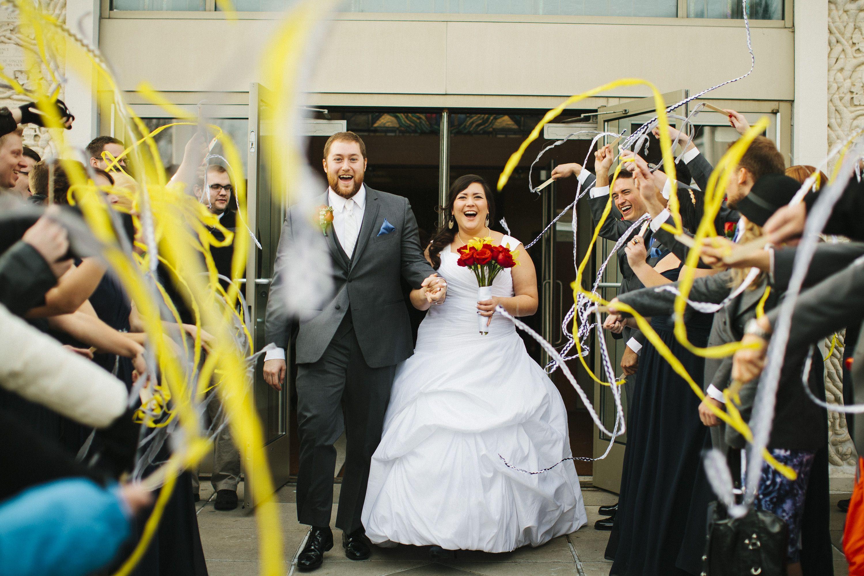 Bismarck, ND Wedding Photography - Bride & Groom, streamers, procession