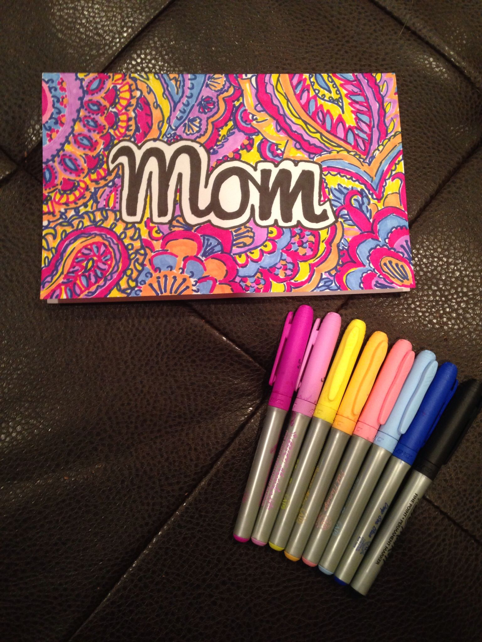 DIY  home made Mother's Day card, lilly pulitzer print
