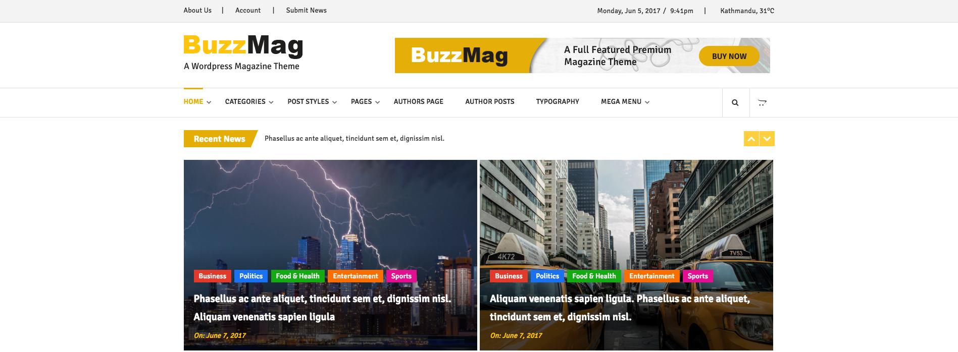 Buzzmag modern html newsmagazine template blog magazine buzzmag modern html newsmagazine template maxwellsz