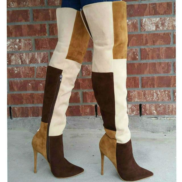 editor s note colorblock high heel thigh high boots