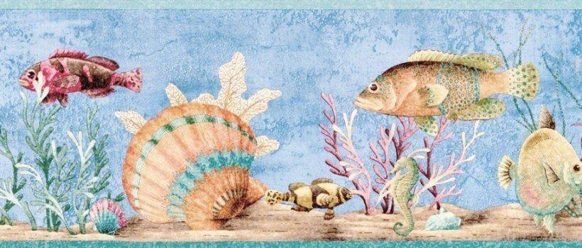 Undersea Tropical Fish Seashell Seahorse Wallpaper Border Blue Ocean Ebay Coral Wallpaper Wallpaper Border Mermaid Wallpapers