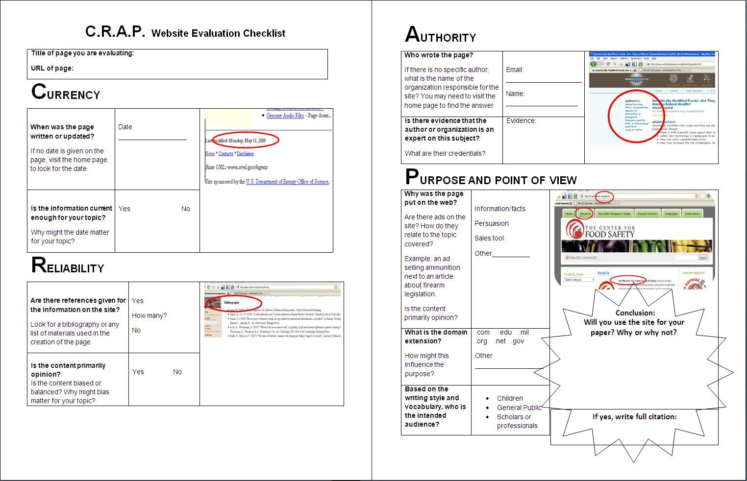 C.R.A.P website evaluation checklist often used in ITW ...