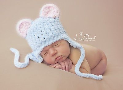 Hand Crochet Knitted Baby Hat Teddy Bear Chunky Photo Prop Boy SOFT Newborn-12M