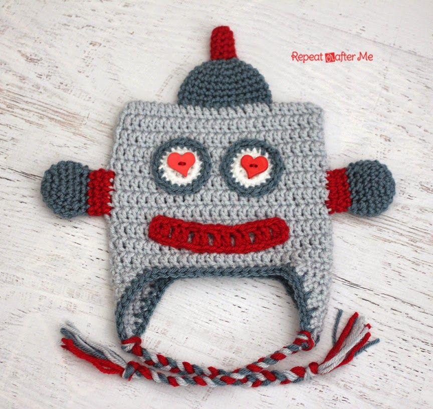 Crochet Lovebot Robot Hat (Repeat Crafter Me)