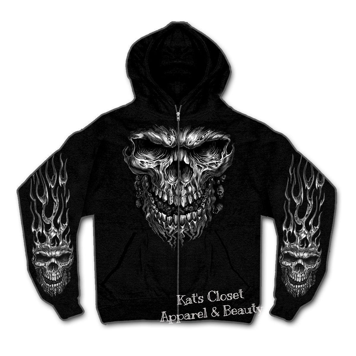 8d00b8ae Shredder Skull Zip-Up Hoodie Sweatshirt | Skull | Hooded sweatshirts ...