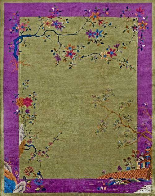 175 Chinese Art Deco Carpet 90 X 116 Circa 1930 Tapis