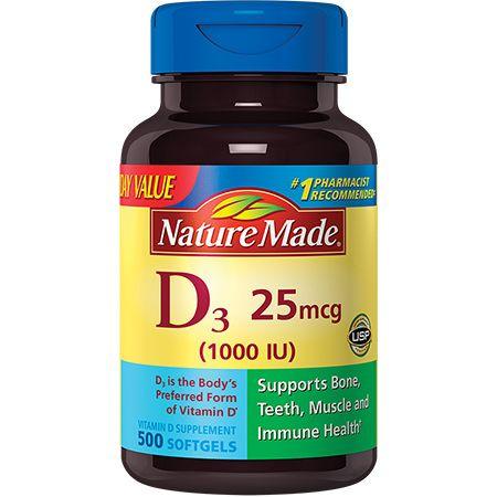 Nature Made Vitamin D3 1000 Iu 25mcg Softgels 500 Count Everyday Value For Bone Health Walmart Com Nature Made Vitamins Health Vitamins
