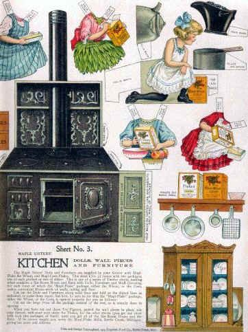 1911 Maple Sisters paper dolls and furnishings showing an iron kitchen range, coal scuttle (upper right corner), iron kettle and cooking pot, wood wall shelf holding cereal boxes and hooks for hanging pots and a griddle, kitchen cupboard with glazed doors exposing a set of china dishes, cooking accessories are hung on its side and on the wainscoting