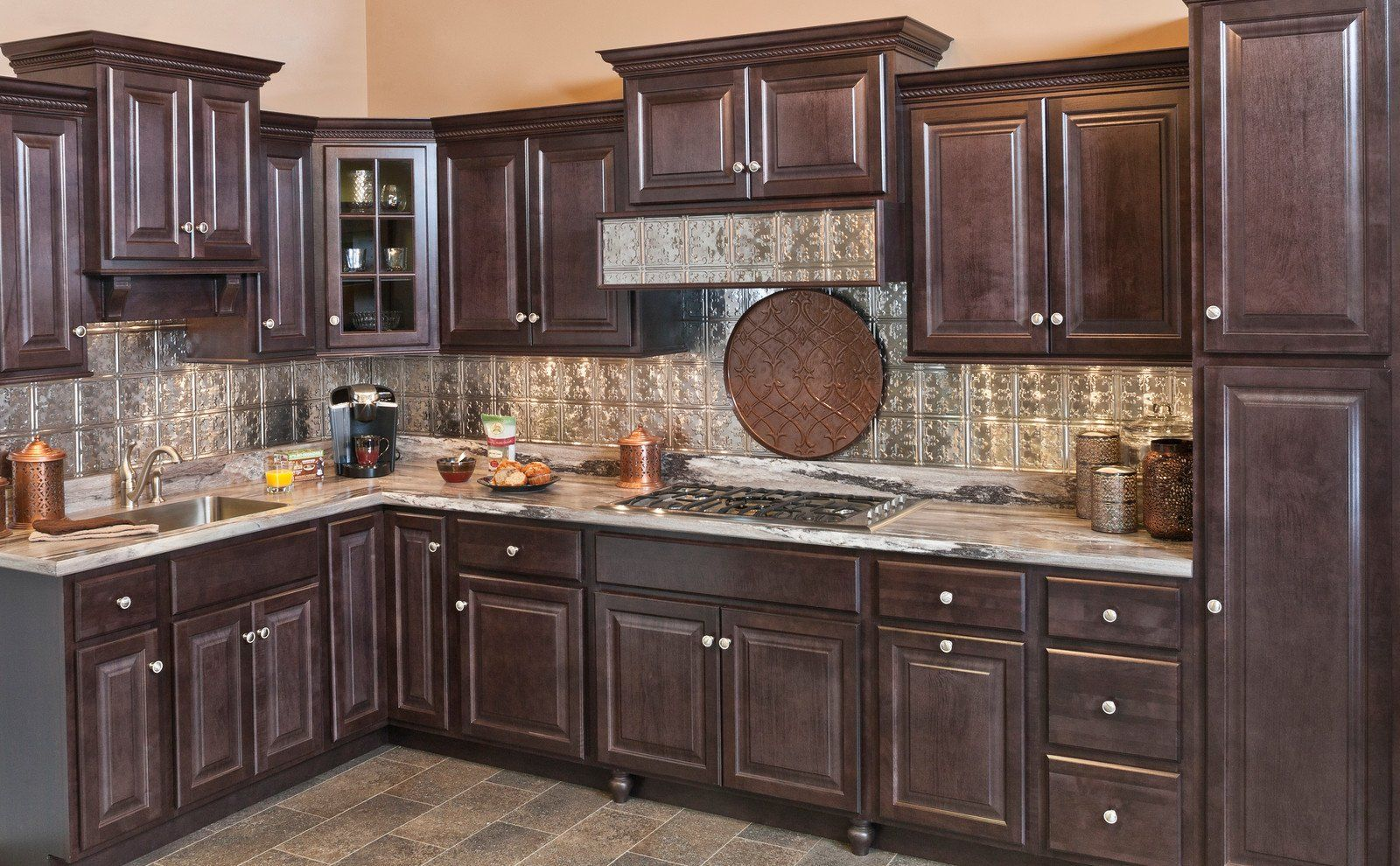 Wolf Classic Insight Saginaw Dark Sable Cabinets From Aaadistributor Dark Sable Stain Is The In 2020 Custom Kitchen Cabinets Kitchen Cabinets Quality Kitchen Cabinets