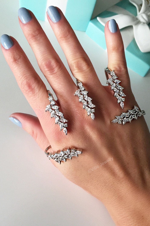 Statement Ring Cuff ring Multiple finger ring Hand ring Armor ringConnected ring4 Finger RingWedding ringPalm RingGift for herSRMF