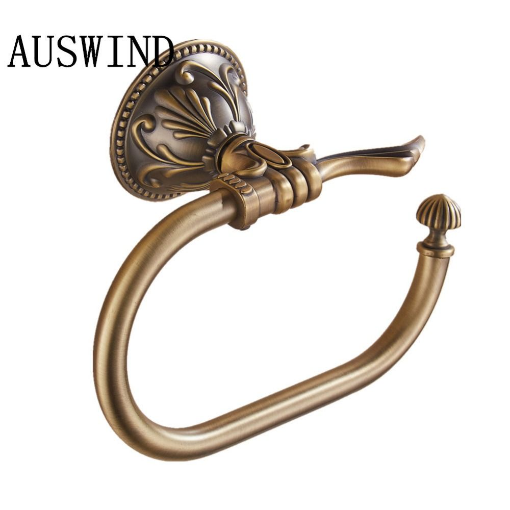 AUSWIND antique bronze Leaf Carved Finish solid mental towel rings ...