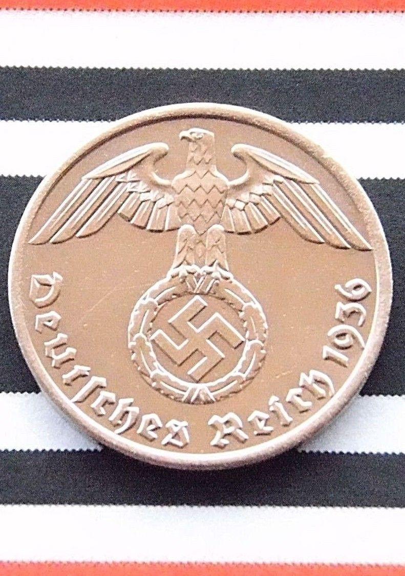 German Coin 1936 A 1 Reichspfennig Swastika Eagle 3rd Reich Rpf Ww2