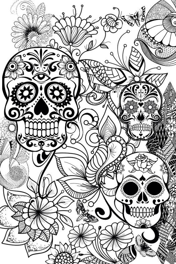 pin by barbara on coloring skull pinterest adult coloring