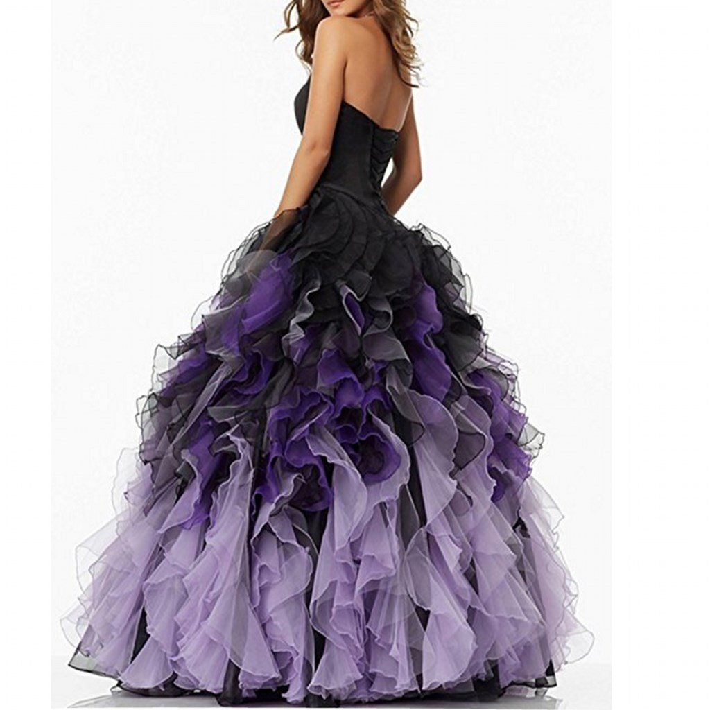 Chady sweethart ball gown puffy ombre organza prom dresses long