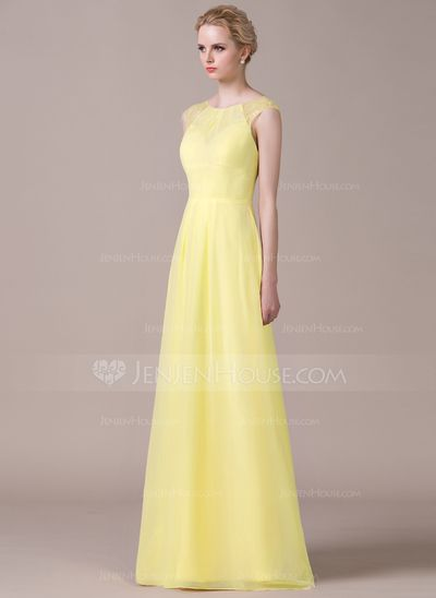 A-Line/Princess Scoop Neck Floor-Length Chiffon Bridesmaid Dress With Ruffle Lace (007059436)