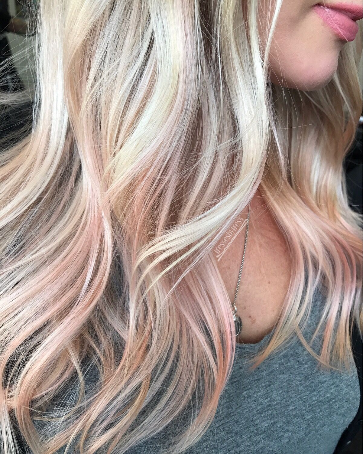 Peach And Blonde Rose Gold Hair Hair Color Highlights Balayage