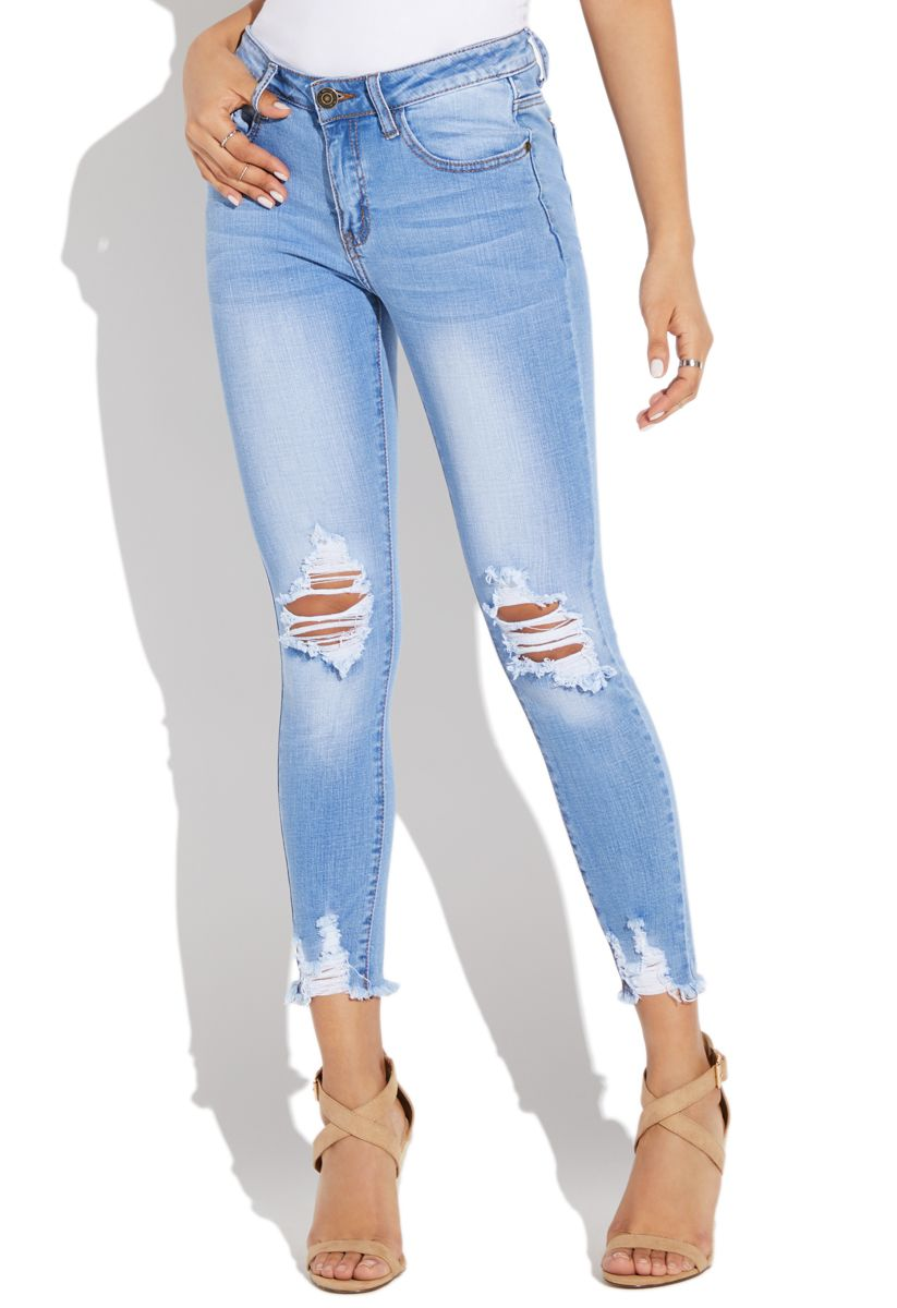 0c7eb14e954 Faded ripped skinny jeans in 2019 | Products | Jeans, Ripped skinny ...
