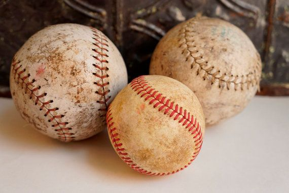 Vintage Leather Baseballs Lot of 3 by ironstonevintage on Etsy, $10.00