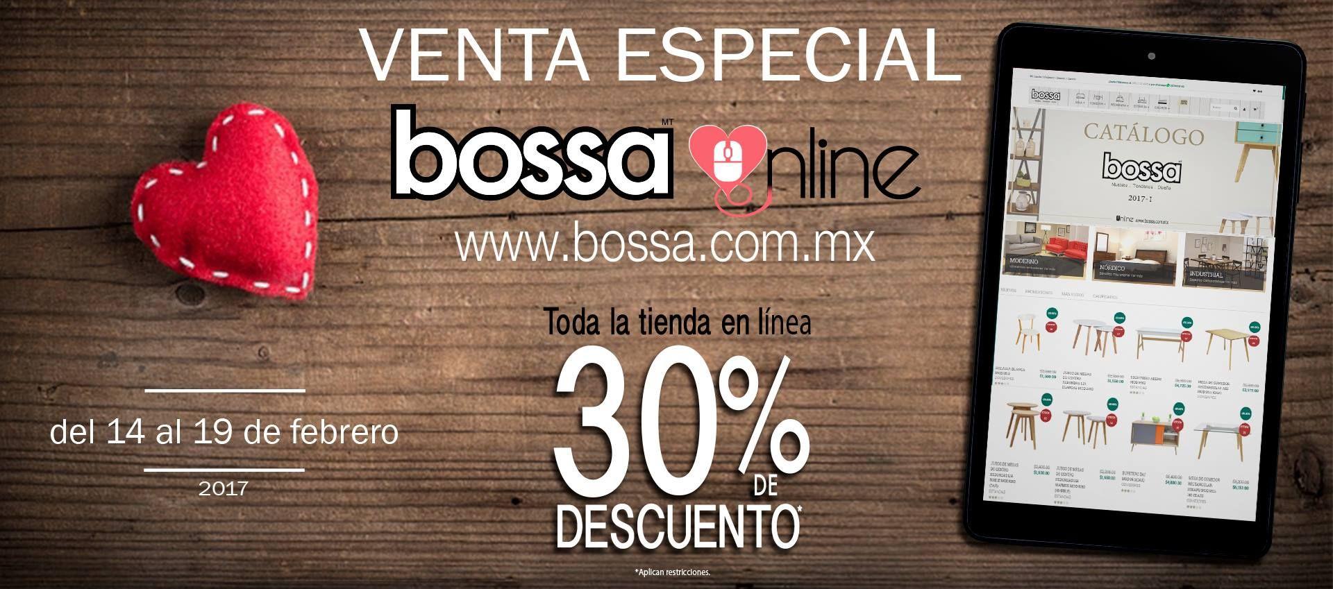 Nos gusta consentirte, por eso, en este #DiaDelAmorYAmistad Bossa Muebles cuenta con 30% de descuento en toda la tienda en línea, desde el martes 14 hasta el 19 de febrero de 2017 y te desea #FelizSanValentín.*Aplican Restricciones.