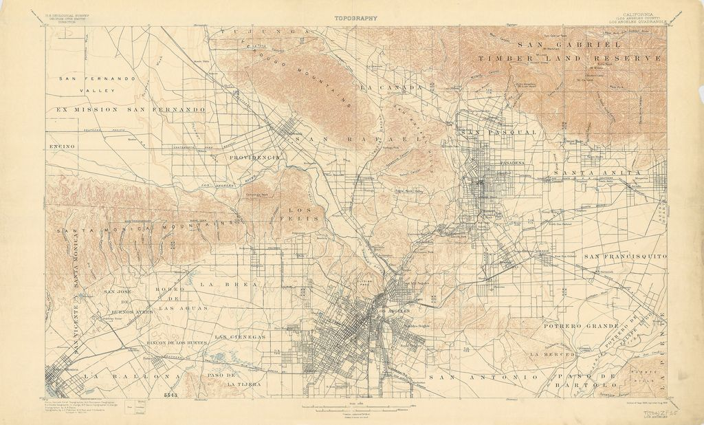 1900 Fletcher Topographic Map Of Los Angeles Maps Historical
